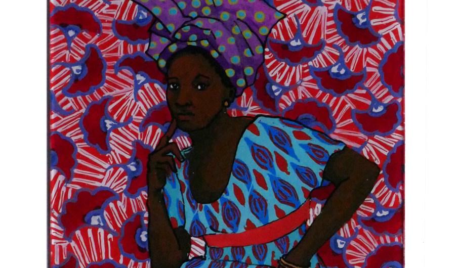 peinture sur verre d'après Seydou Keita