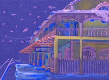 La gare de Rufisque, gouache sur papier bleu