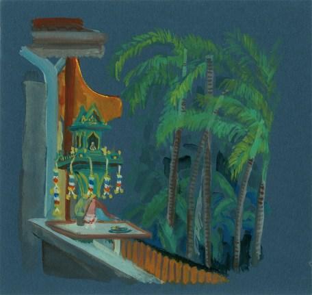 Petit autel aux ancêtres sur la terrasse de l'Hotel, Chiang Mai, Gouache sur papier bleu, 21x20 cm