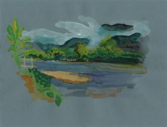Brume matinale sur le fleuve à Ta Ton, gouache sur papier gris, 32x24 cm