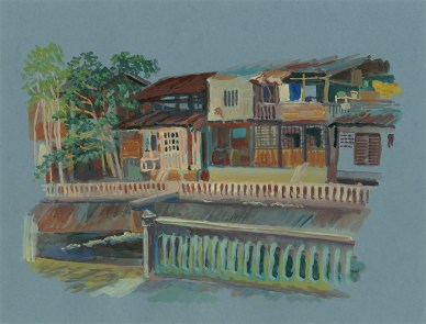 Maisons de bois au bord du canal, Chiang Mai, gouache sur papier gris, 32x24 cm