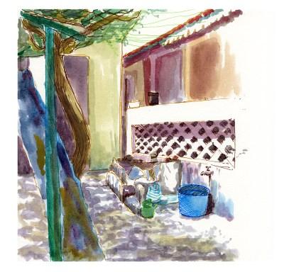 La cour de Dia, Dakar, feutres et aquarelle sur papier