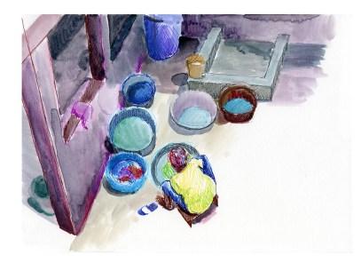 Femme faisant la lessive, Dakar, feutres et aquarelle sur papier