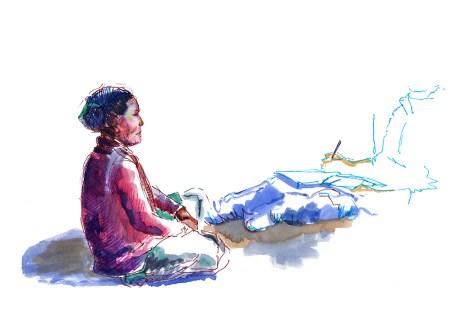 portrait de Sunmaïa, aquarelle et feutre sur papier blanc