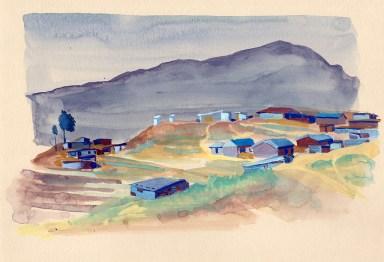 Le bidonville, Golphu, gouache sur papier beige, 29x21 cm