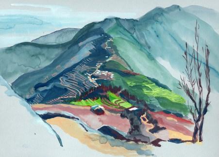 Golphu Banjyang vu de la montagne gouache sur papier gris-bleu, 31x24 cm
