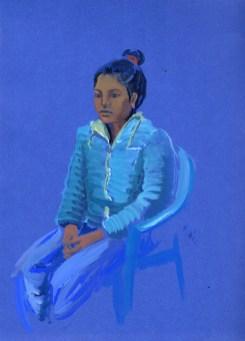 Portrait de Manmaya, Barati, gouache sur papier bleu, 31x24 cm