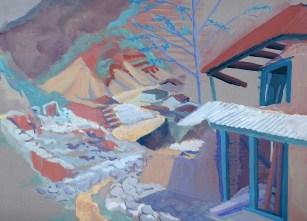 Dans le village de Golphu Banjyang, gouache sur papier gris 31x24 cm