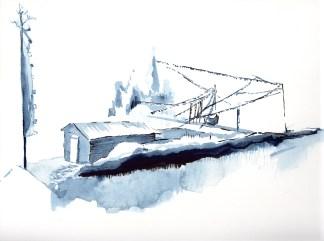 paysage, village de Siamrang, portrait de Sunbahadur, élève, aquarelle et feutre noir sur papier blanc