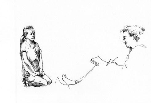 Portrait de Maya dessinée par Sophie, portrait de Sunbahadur, élève, feutre noir sur papier blanc