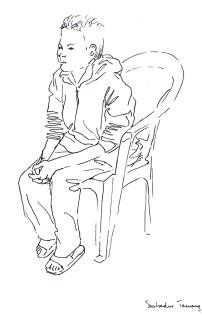 portrait de Sunbahadur, élève, feutre noir sur papier blanc