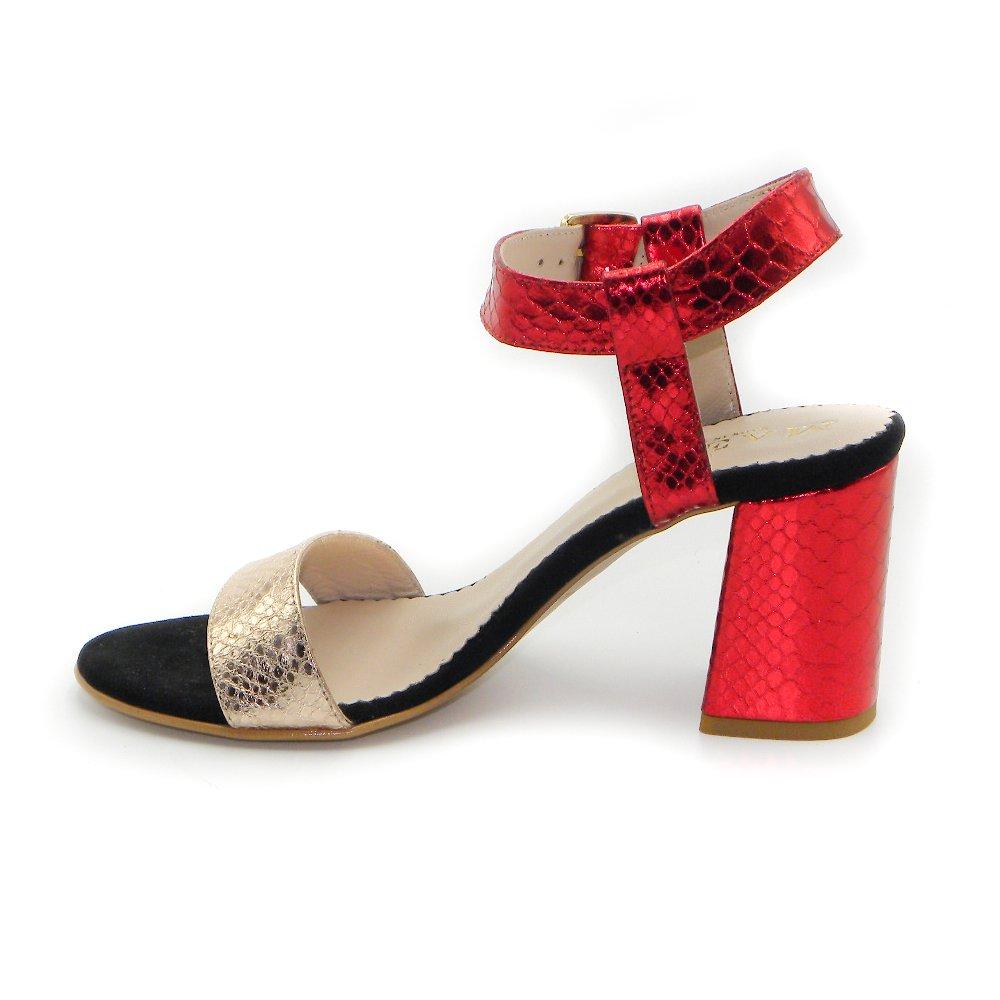 Maemi scarpa da cerimonia tacco 70mm con fibbia regolabile - rosso e rame (1)