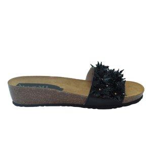 Maemi scarpa sportiva zeppa 30mm sughero con fiori in pelle – nero