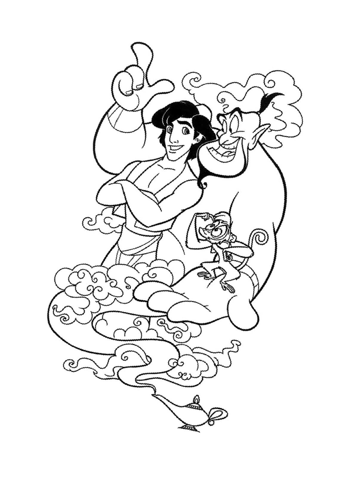 Ausmalbilder Malvorlagen - Aladdin kostenlos zum