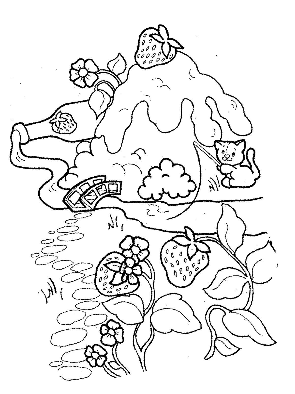 Ausmalbilder Malvorlagen - Erdbeere kostenlos zum