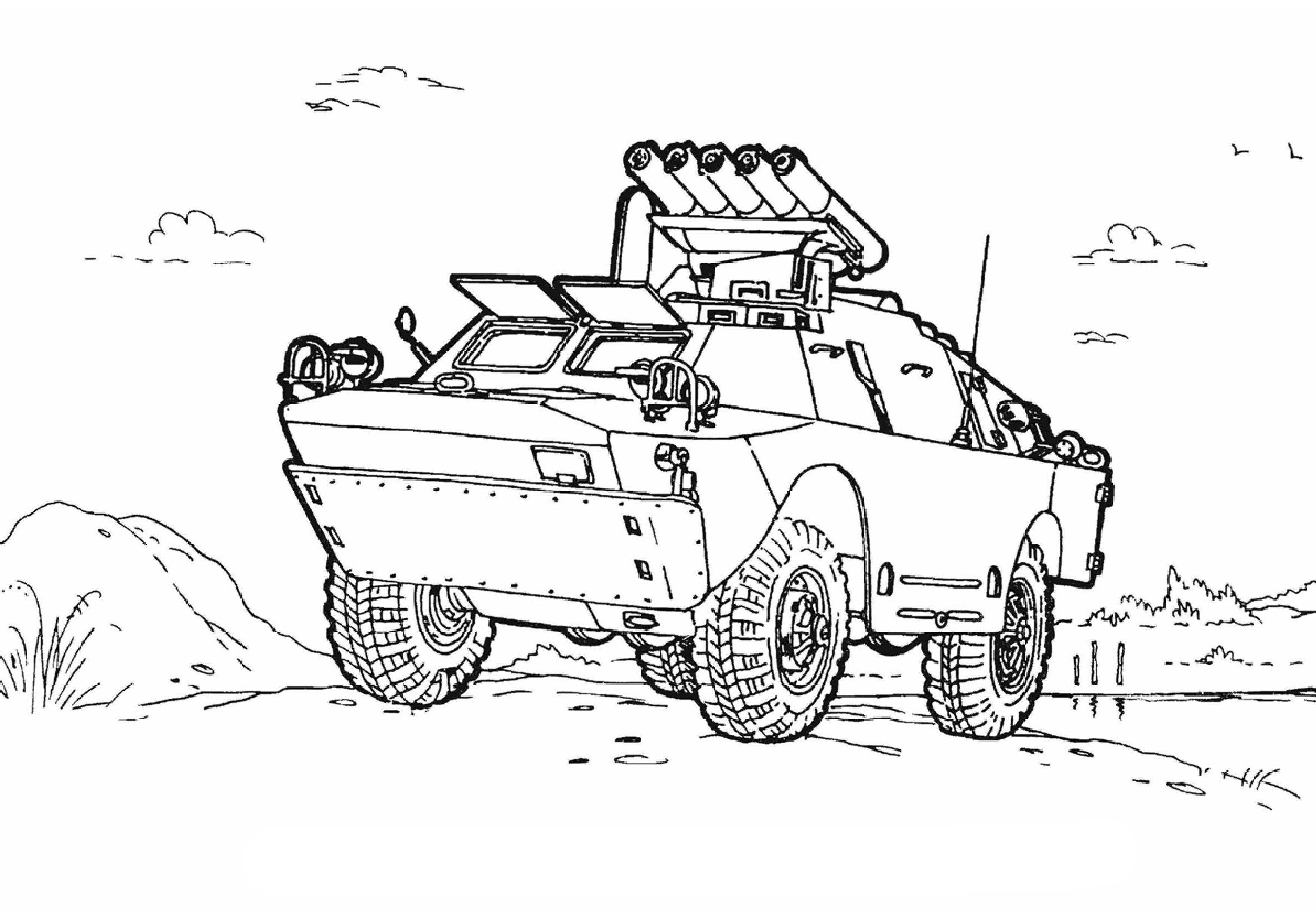 Ausmalbilder Malvorlagen - Panzer kostenlos zum