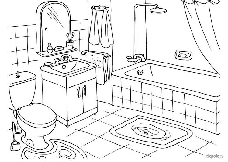 Ausmalbilder Malvorlagen - Badezimmer kostenlos zum