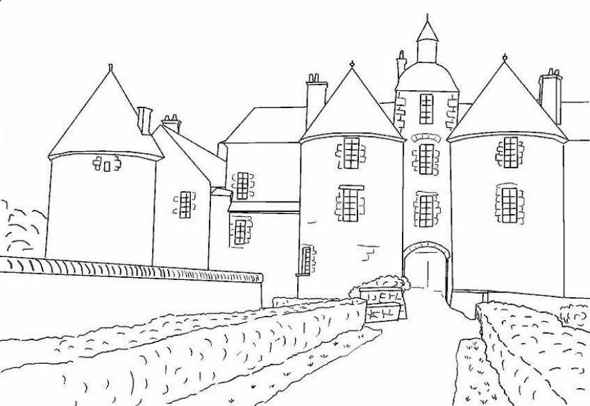 Ausmalbilder Malvorlagen - Burgen und Schlösser kostenlos