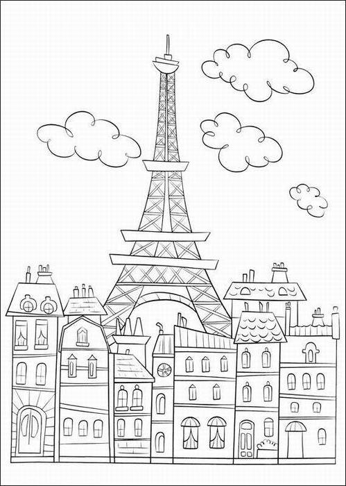 Ausmalbilder, Malvorlagen von Eiffelturm in Paris