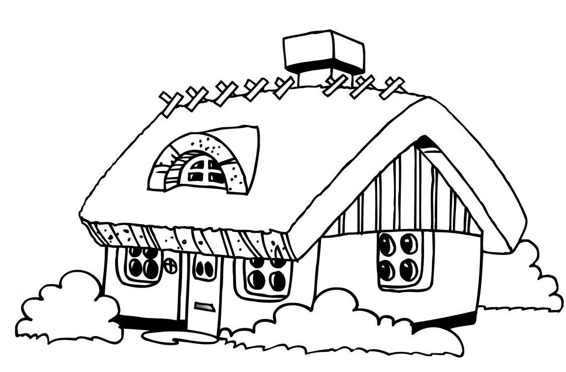 Malvorlage Haus Mit Regenbogen - Kinder Ausmalbilder