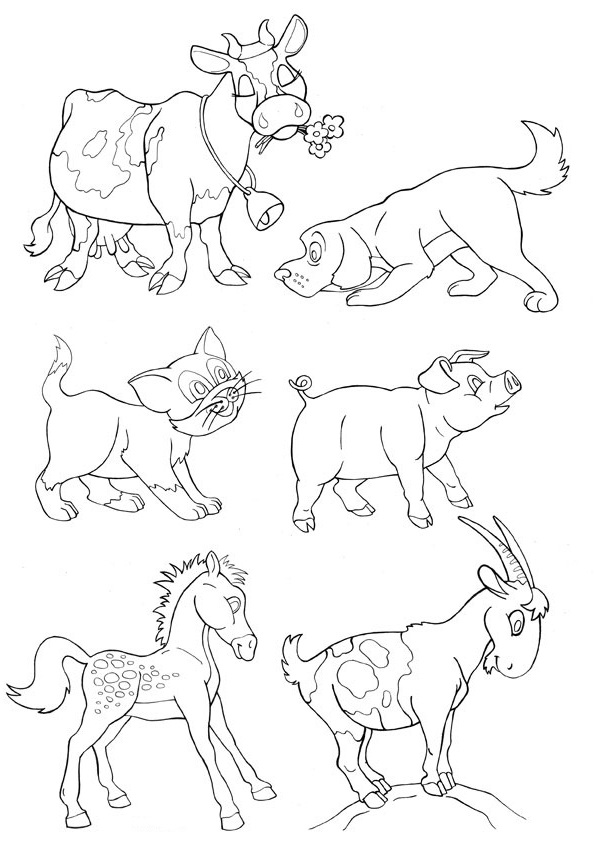 Ausmalbilder Malvorlagen - Haustiere kostenlos zum