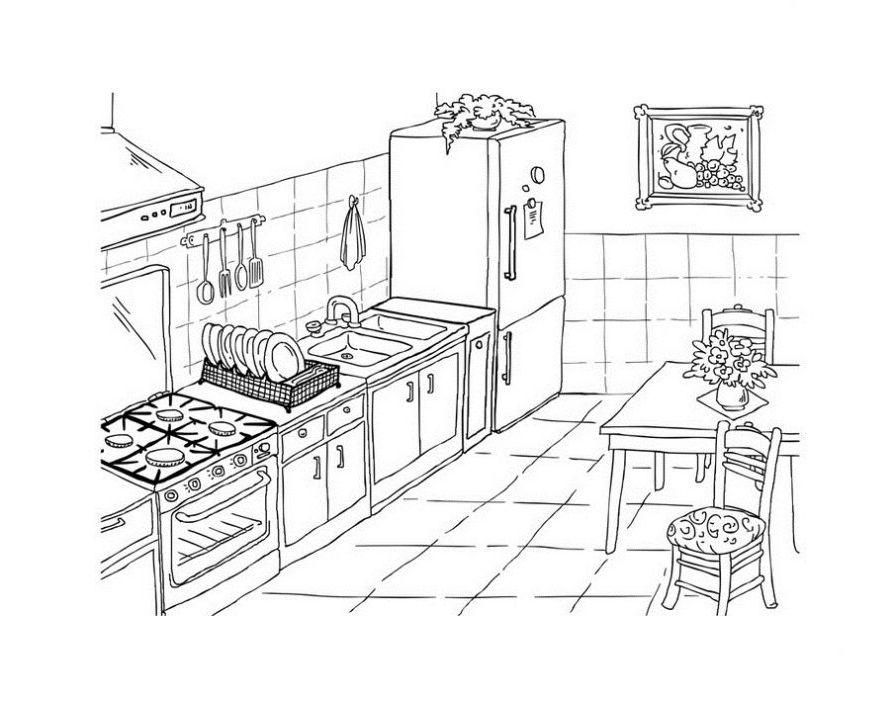 Ausmalbilder Malvorlagen - Küche kostenlos zum Ausdrucken