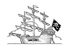 Ausmalbilder, Malvorlagen – Piratenschiff kostenlos zum ...