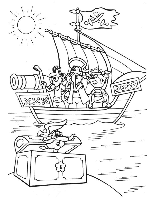 Ausmalbilder Malvorlagen - Piratenschiff kostenlos zum