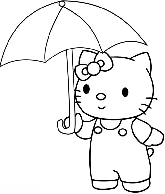 Ausmalbilder Malvorlagen - Regenschirm kostenlos zum
