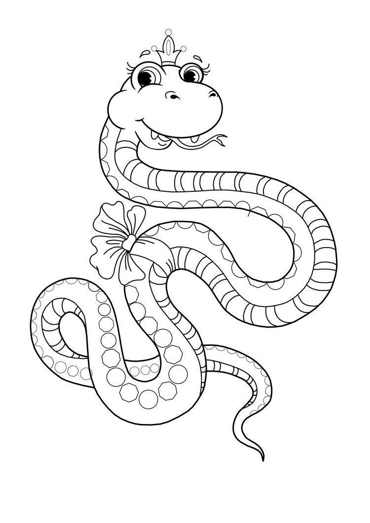 Ausmalbilder Malvorlagen - Schlange kostenlos zum