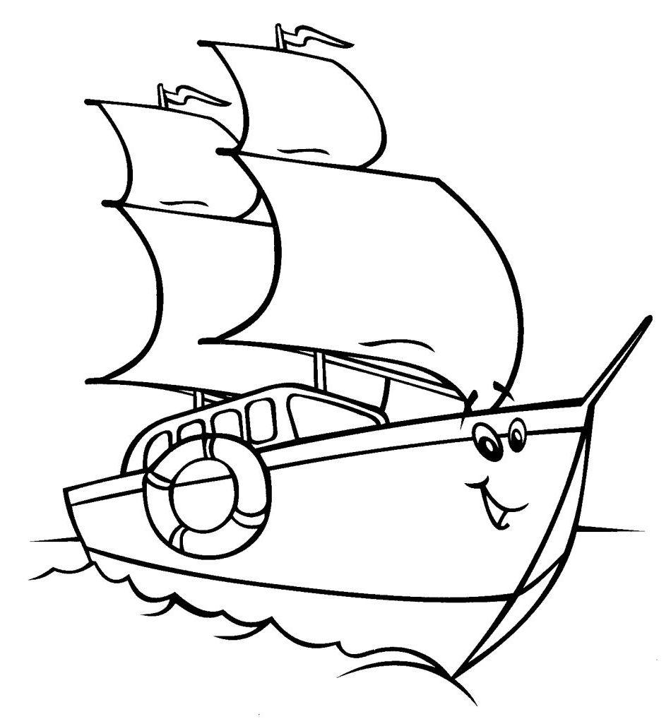Ausmalbilder Malvorlagen - Segelschiff kostenlos zum