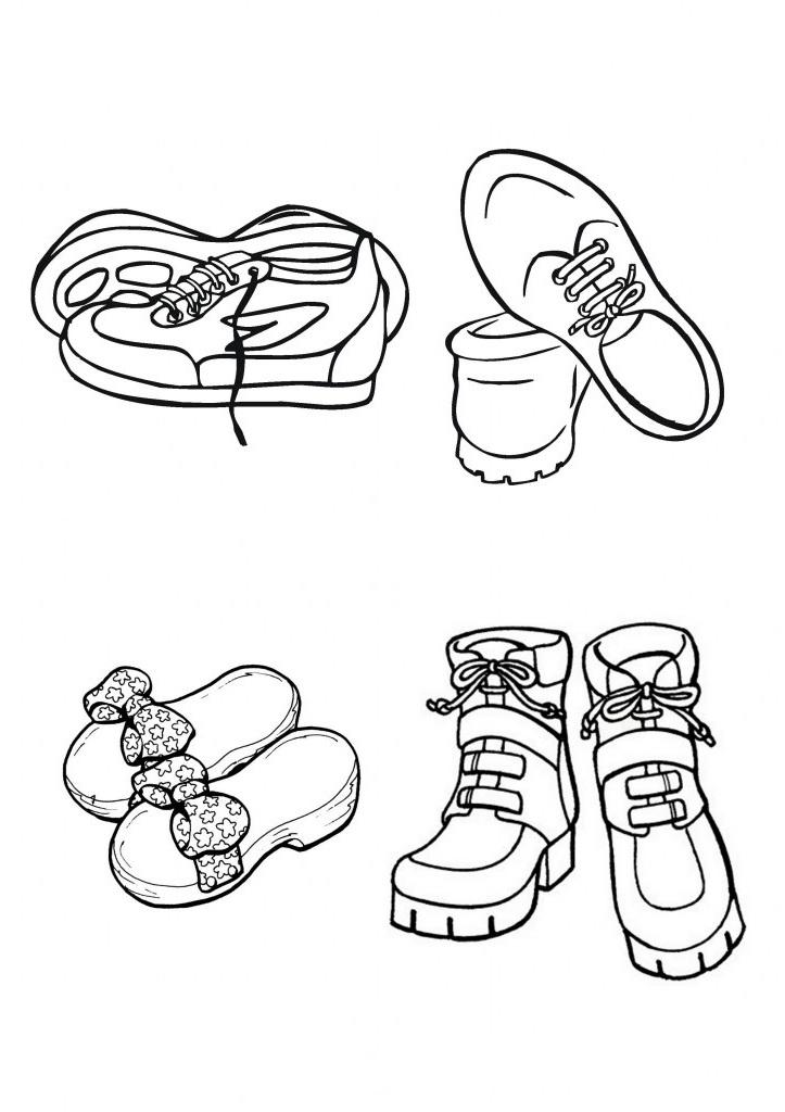Ausmalbilder Malvorlagen - Schuhe kostenlos zum