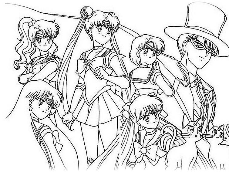 Ausmalbilder Malvorlagen von Sailor Moon kostenlos zum