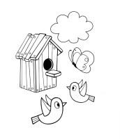 Ausmalbilder, Malvorlagen – Vogelhaus kostenlos zum ...