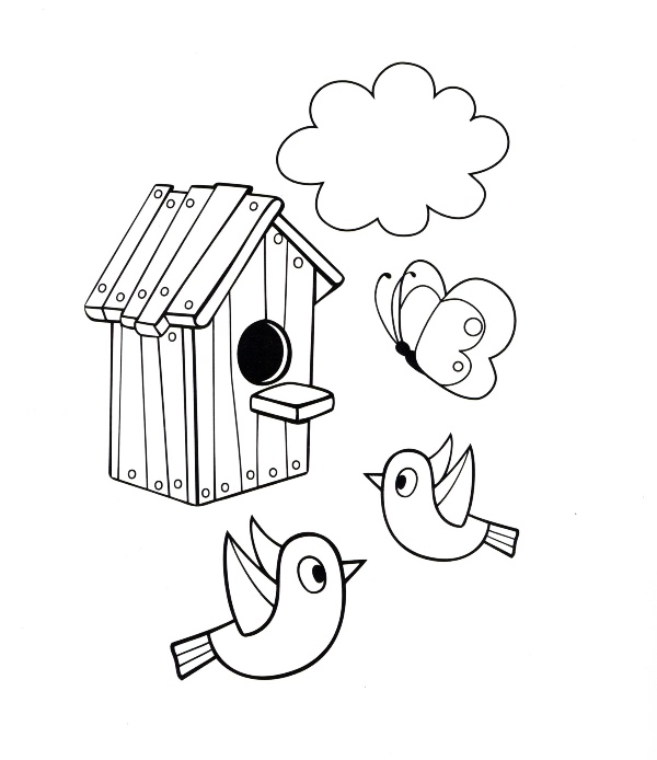 Ausmalbilder Malvorlagen - Vogelhaus kostenlos zum