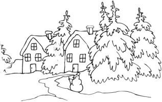 Ausmalbilder, Malvorlagen von Winterlandschaft kostenlos ...