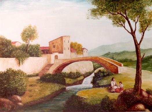 Paesaggio primaverile con case e ponte  Maestro Roberto