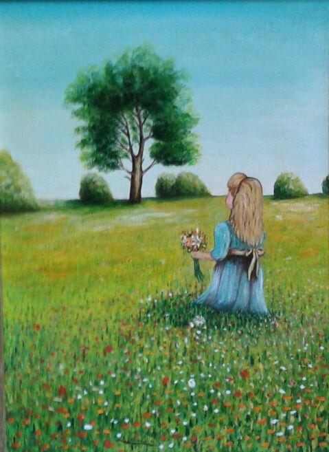 Paesaggio con fanciulla sul prato fiorito  Maestro