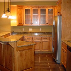 New Kitchen Small Kitchens With Islands Maetzold Homes Inc Wood Cabinets Stone Countertops And Tile Floor