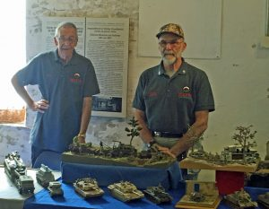 Peter Denyer and Dave Burton next to their models
