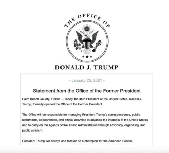 """President Trump Releases New Statement; Establishes """"Office Of The Former President"""""""