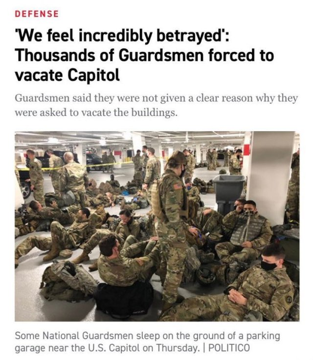 Some National Guard units slept on the floor of a parking garage on Thursday night - photo Politico
