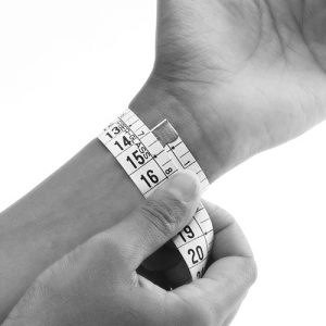 This image has an empty alt attribute; its file name is wrist-measure-300x300.jpg