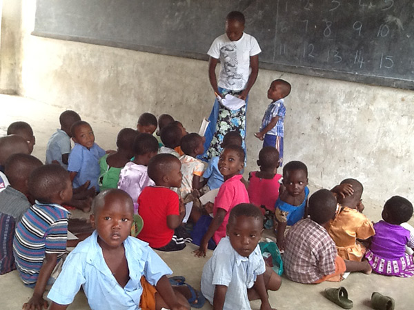 Young children in the classroom.