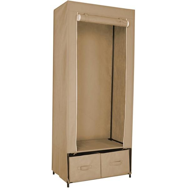 armoire penderie tissu 2 tiroirs loading zoom