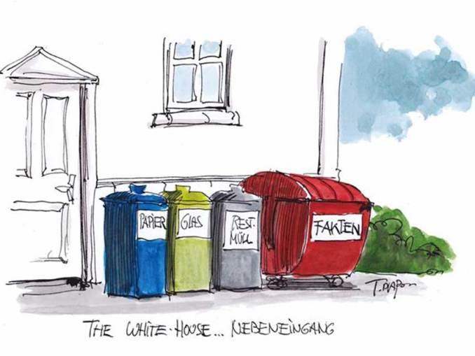 Wir danken dem Zeichner Thomas Plaßmann, der der Veröffentlichung des Cartoons »The White House ... Nebeneingang« in Magazin für Restkultur zugestimmt hat.©Thomas Plaßmann
