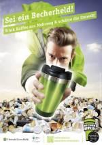 Becherhelden: Plakat der Deutschen Umwelthilfe