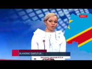 Mme Blandine Diafutua, leader d'opinion. Dans la politique, elle est une des figures de la Résistance: «Blandine Ma'Kongo», «Mama mobuneli ya ekolo Kongo»