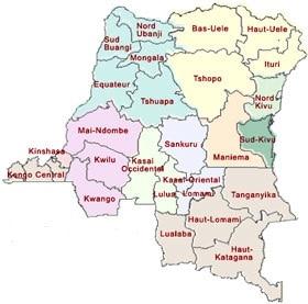 Carte de la RDC pour situer la province du Mai Ndombe