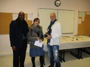 Journaliste Lilo Miango et deux journalistes français du journal L'Union.